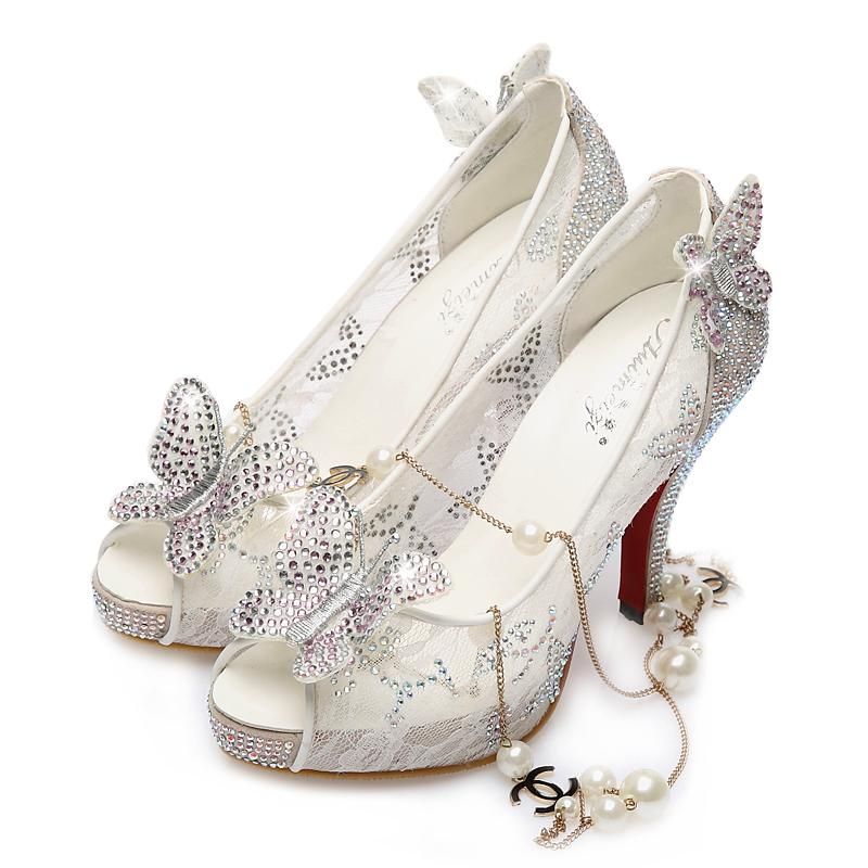 2016 New Hot Cinderella Luxury Prom Wedding Shoes Princess High Heel Sparkly Crystals Lace White