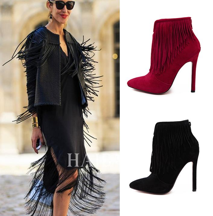 Wine Red Black Thin High Heels Tassles Fringe Ankle Boots For ...