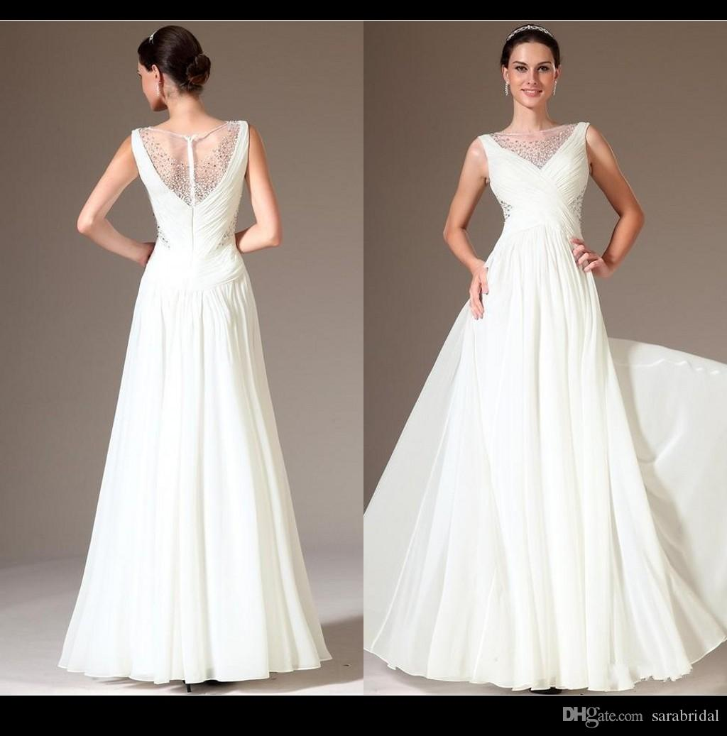 Modern White Long Formal Dress Evening Dresses Jewel Beaded Corset ...