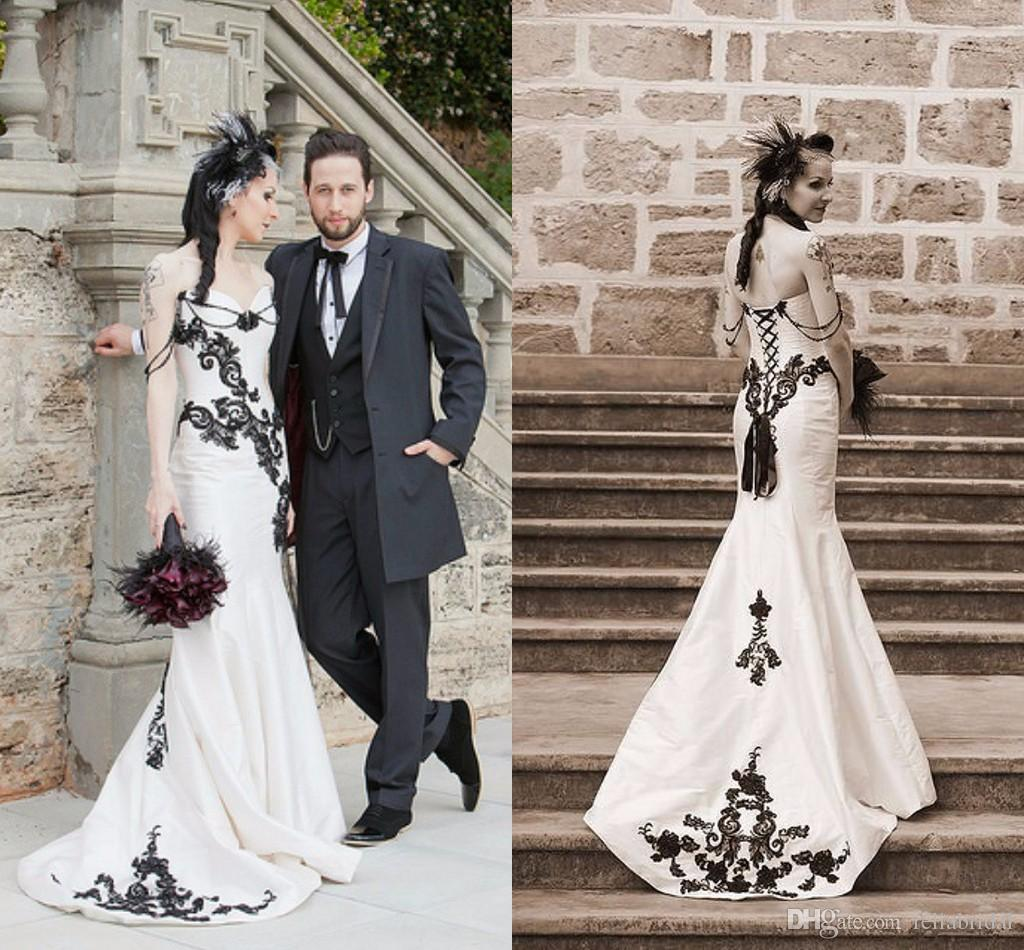 Gothic Black And White Wedding Dresses 2015 Mermaid