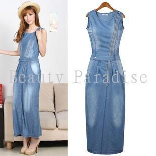 Women Jeans Dress 2015 Summer Cool Denim Dress Fashion Zipper Hole ...