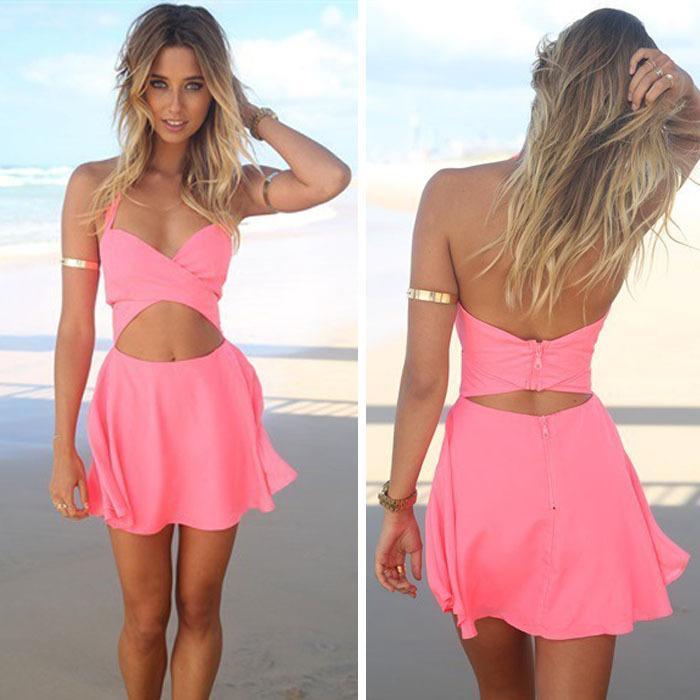 2017 Pink One Short A Line Mini Dress Sexy Girls Strapless Dress ...