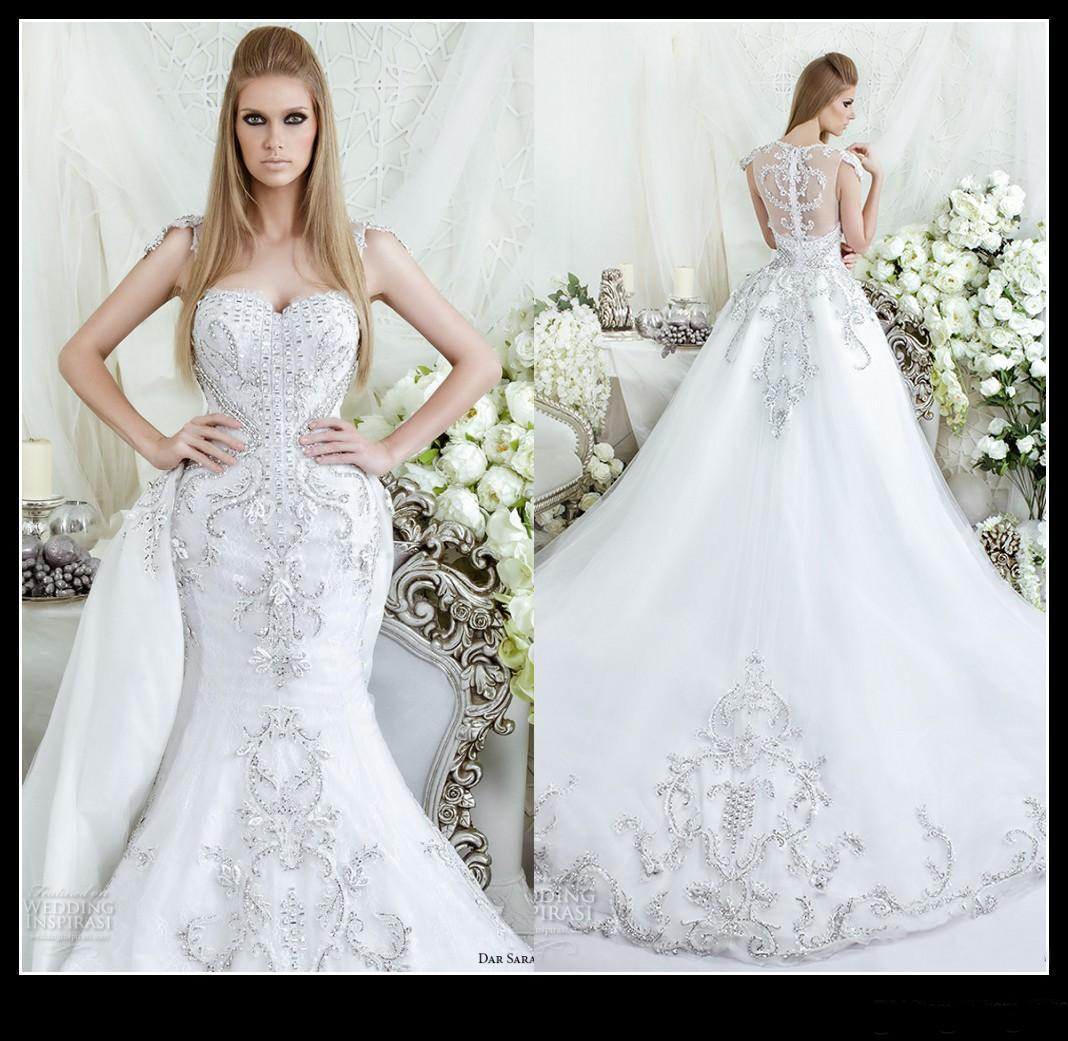 Discount 2016 Luxury Mermaid Wedding Dresses V Neck Sheer