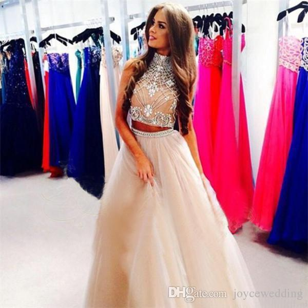 2015 Two Piece Prom Dresses Champagne Tulle Long Prom Dresses High ...