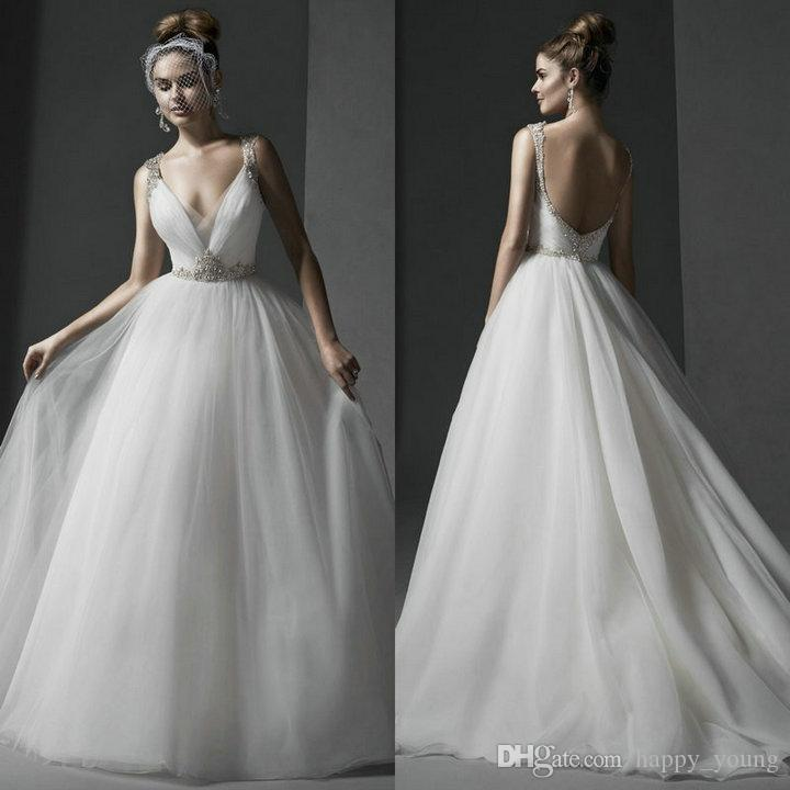 Simple Ball Gown Wedding Dresses 2016 V Neckline Beaded Sequins White Organza Wedding Gowns