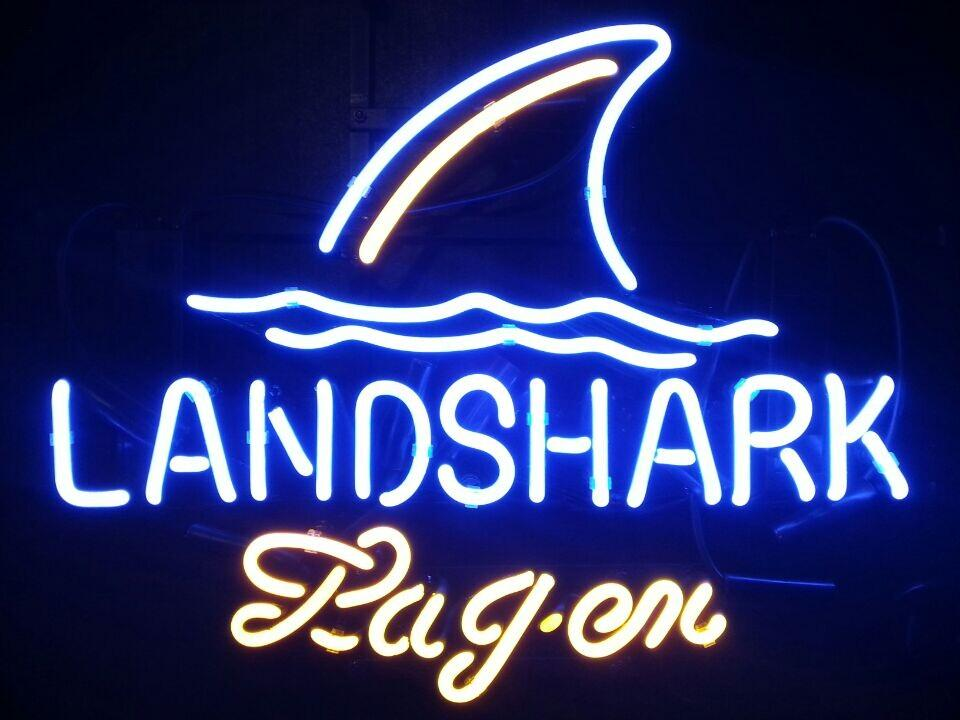 2017 Landshark Lager Land Shark Real Glass Neon Sign Beer