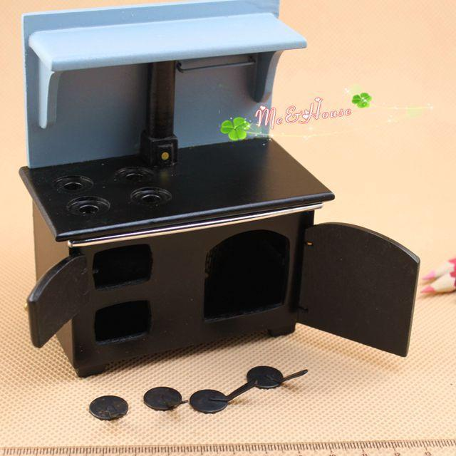 1/12 Scale Dollhouse Miniature Wood Stove Cook Vintage Wood Burnin Kitchen  Stove Doll house - 2017 1/12 Scale Dollhouse Miniature Wood Stove Cook Vintage Wood