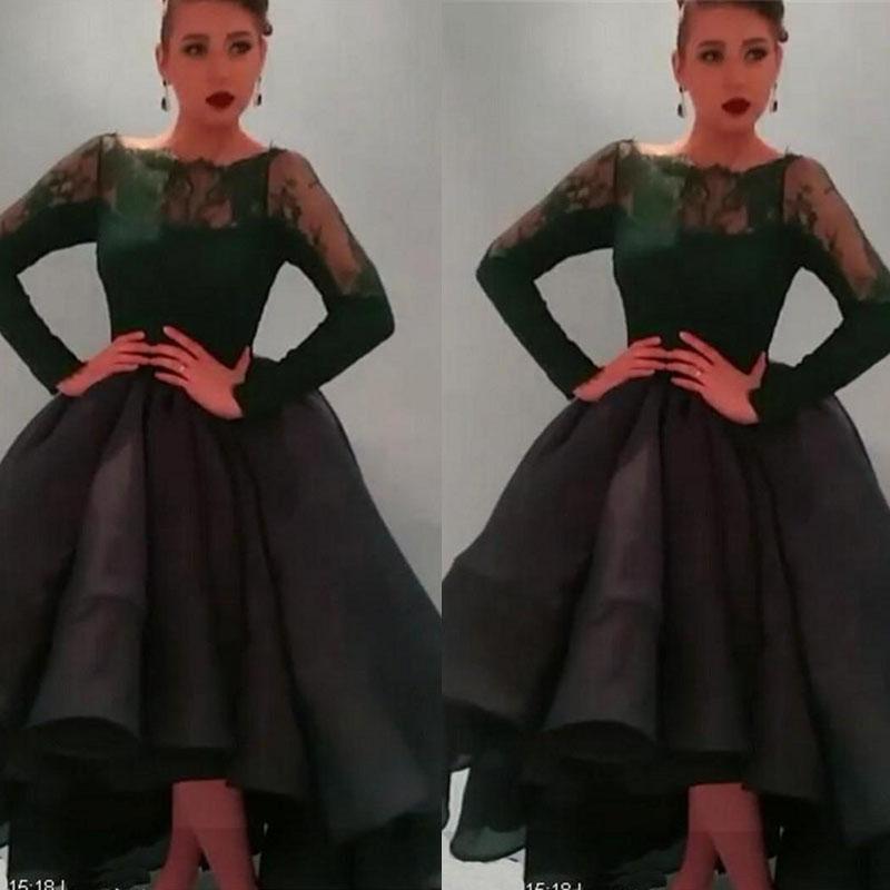 2015 Hi Lo Prom Dresses Dark Green Long Sleeve Sheer Crew Neckline ...