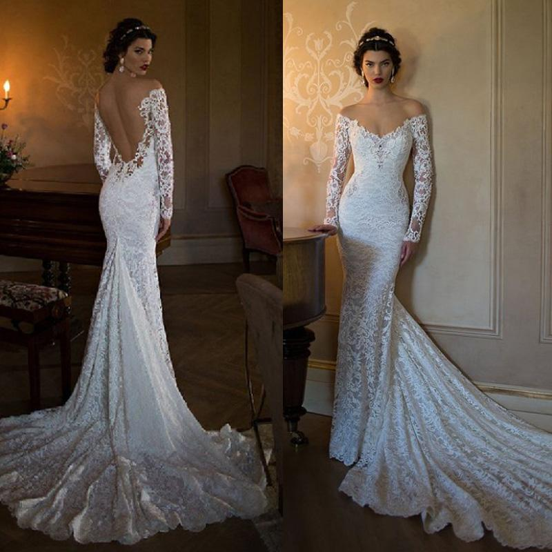 Fitted wedding dresses with train