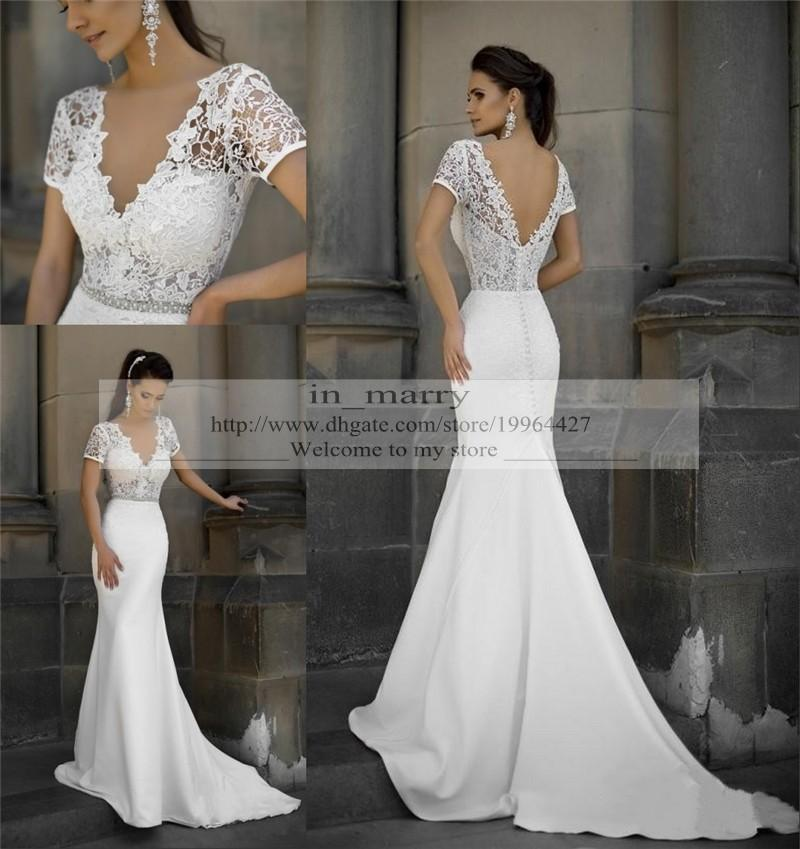 Plus Size Mermaid Vintage Lace Wedding Dresses Fitted 2015