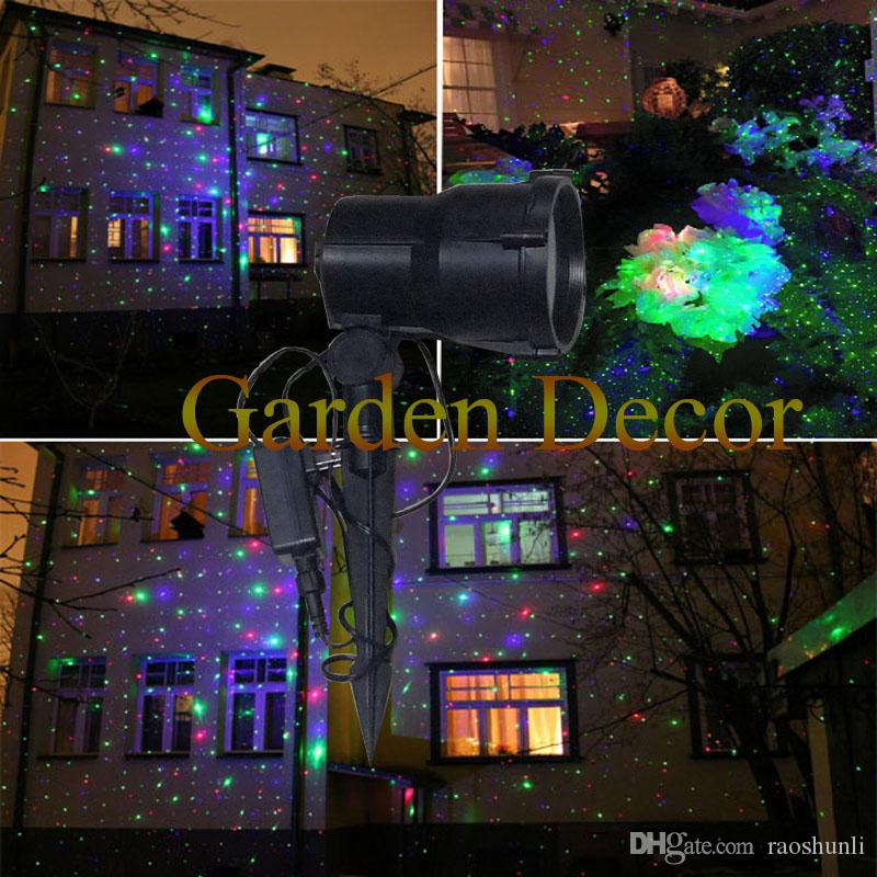 Red&Green&Blue Moving Outdoor Star Garden Laser Shower Light ...
