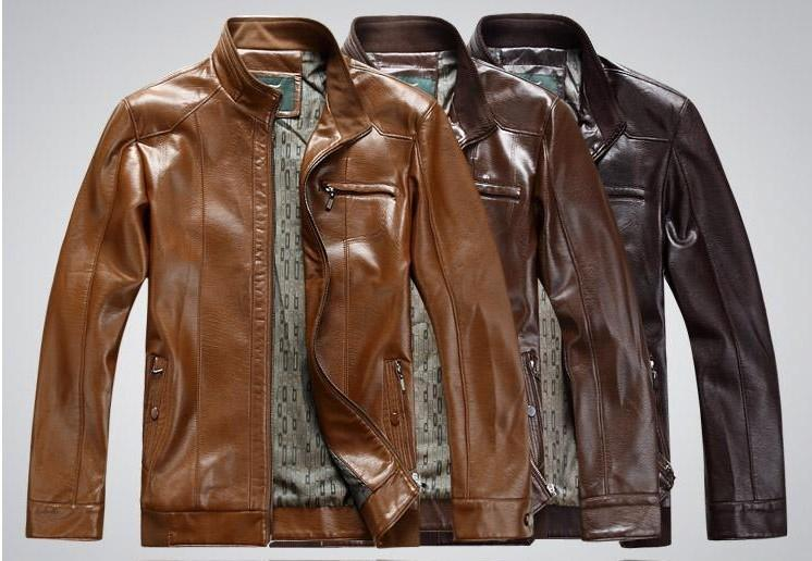 2014 new fashion men's leather jacket brand genuine sheepskin coat free shipping