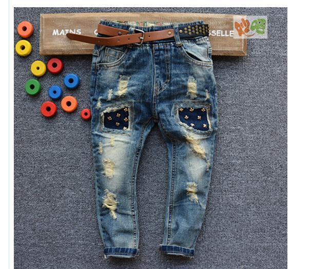 2015 New Spring Pant Denim Jeans Boy Jeans With Belt Kids ...