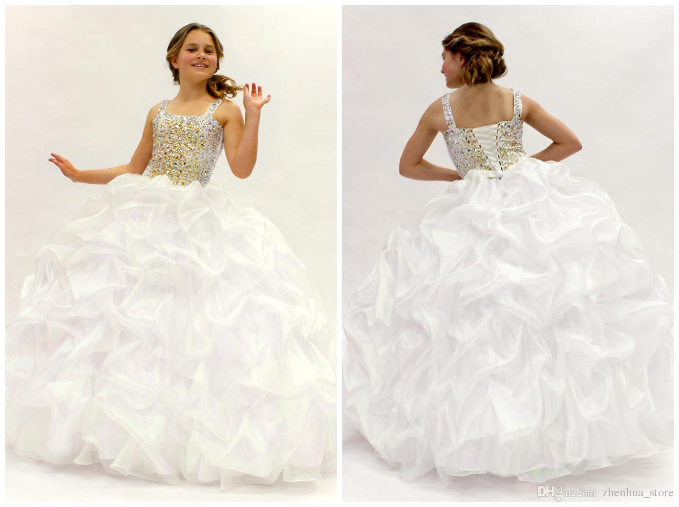 2015 White First Communion Dresses Sequins Ball Gown Flower Girl ...