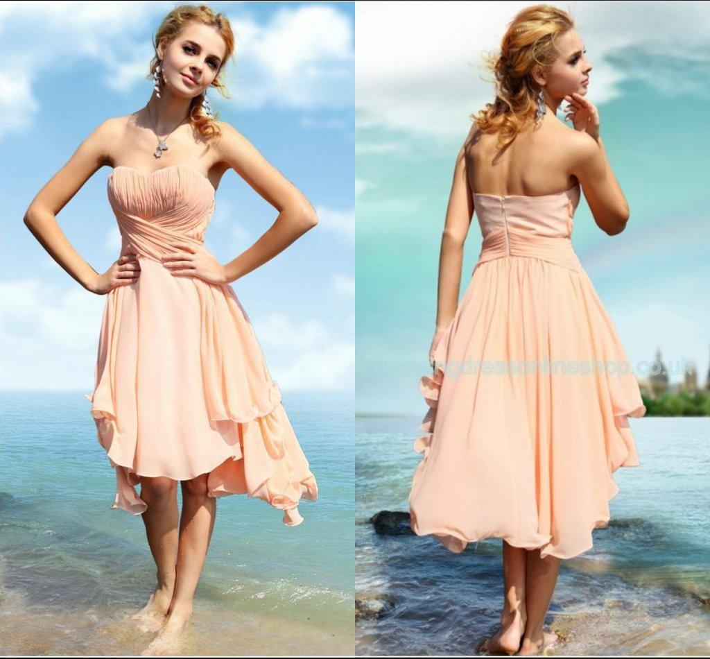 2015 spring beach wedding peach bridesmaid dresses cheap for Cocktail dress for beach wedding