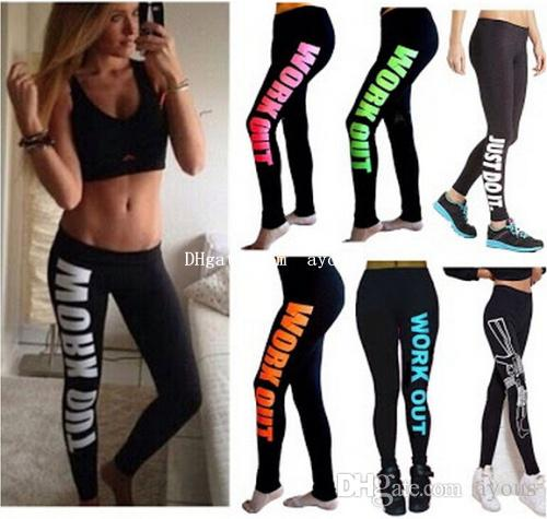 Best New Latest Cotton Leggings Print Work Out Letters Sport Women ...