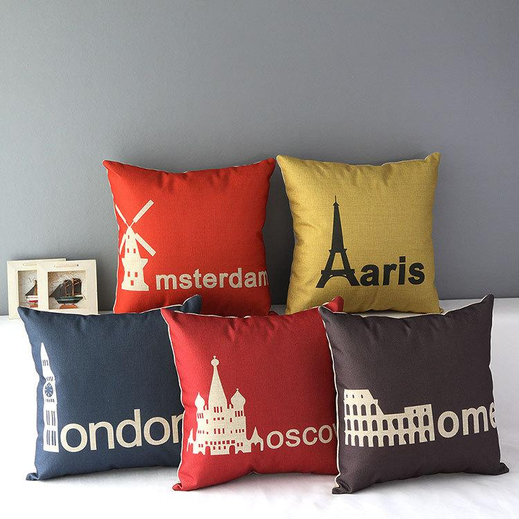 London Pillow Cover, Moscow Amsterdam Rome Paris Landmark
