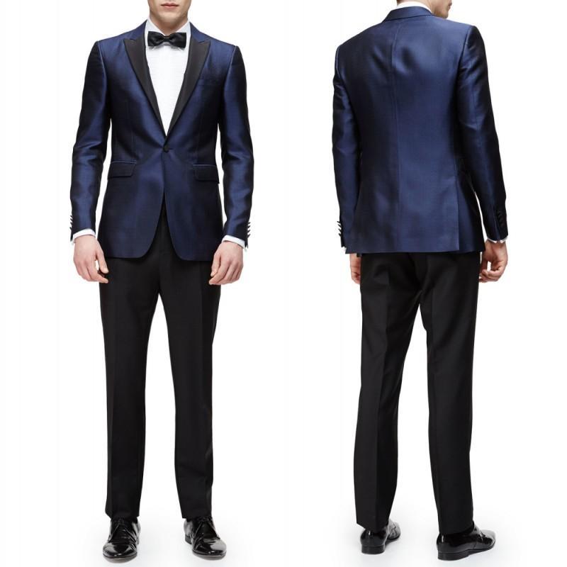 2015 Navy Blue Jacket Black Pants Groom Dress Tuxedo Wedding Suits ...