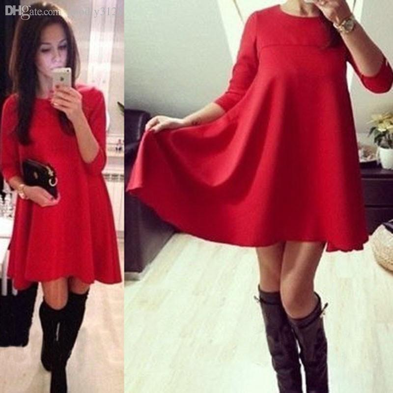 Wholesale 2015 New Year Red Bule Color Warm Female Dresses Casual ...