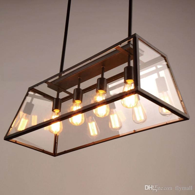 Rectangular Wrought Iron Chandelier Pictures Of Dining: Retro Pendant Lamp American Industrial Black Iron Glass Rectangular Chandelier Light Loft