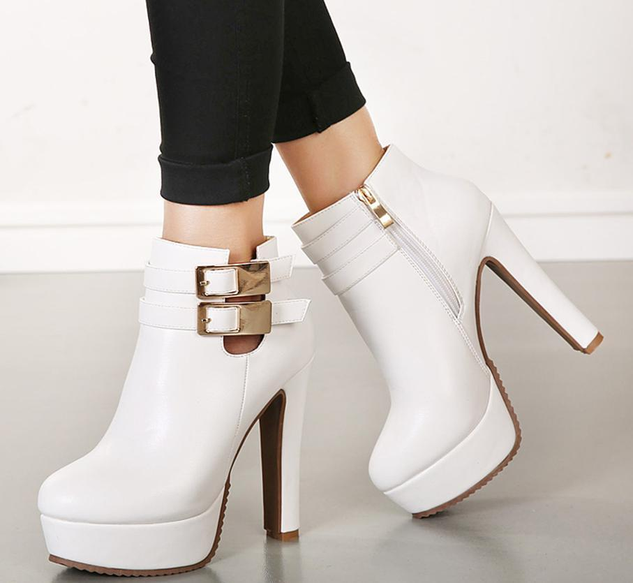 Bridal White Leather Wedding Boots Ankle Boots Heels Round Toe