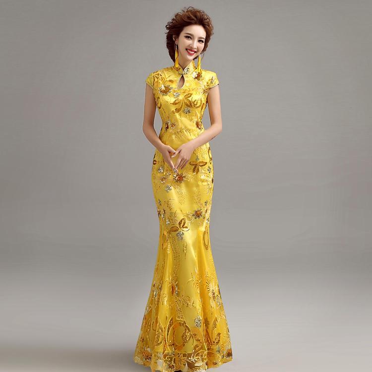 Robe de mariee de couleur jaune