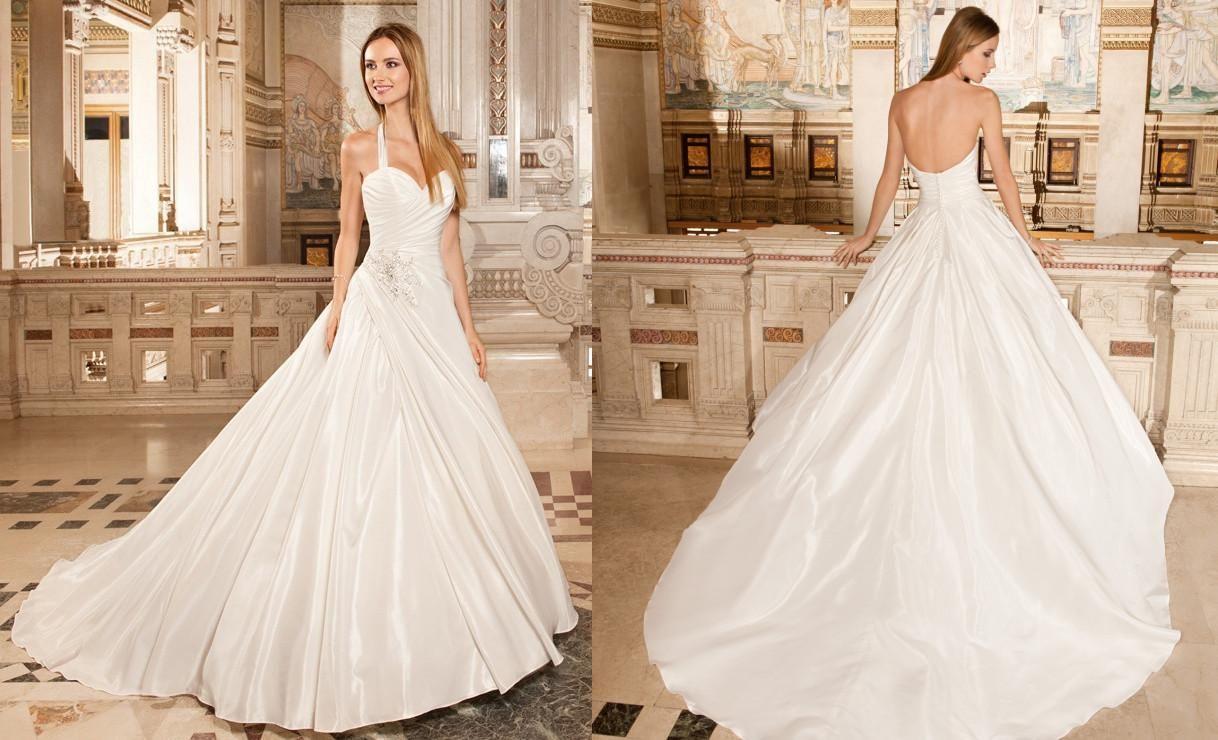 Wholesale Demetrios Wedding Dresses : Discount demetrios a line wedding dresses ivory satin ruched