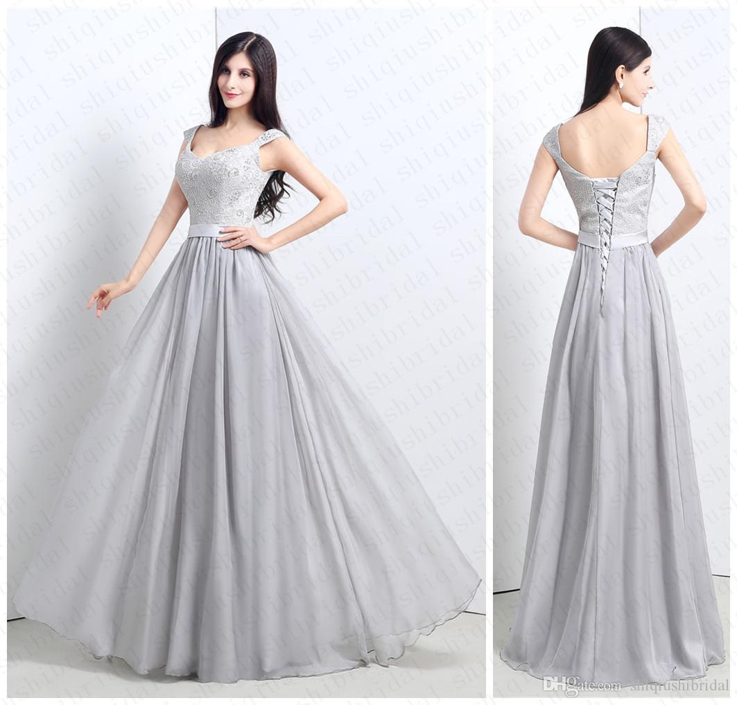 2015 Cheap A Line Prom Dress Lace Beads Cap Sleeve Beading Floor ...
