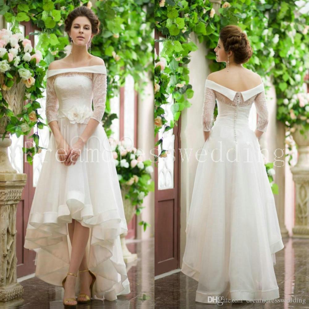 Discount fashionable romantic wedding dresses off the for High low wedding dresses for sale