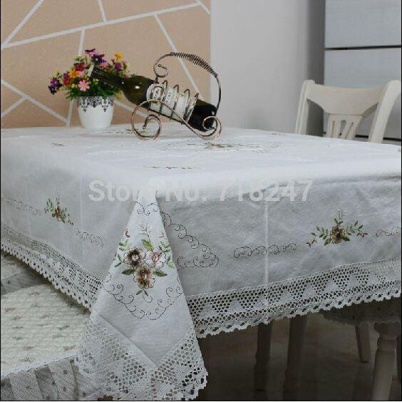 Hot sale rectangle elegant white cotton linen embroidery for White cotton table cloth