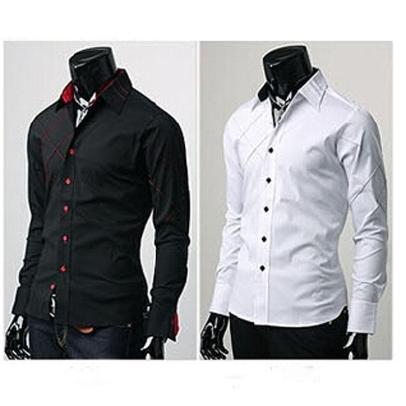 Mens Casual Button Down Slim Fit Long Sleeve Formal Social Dress ...