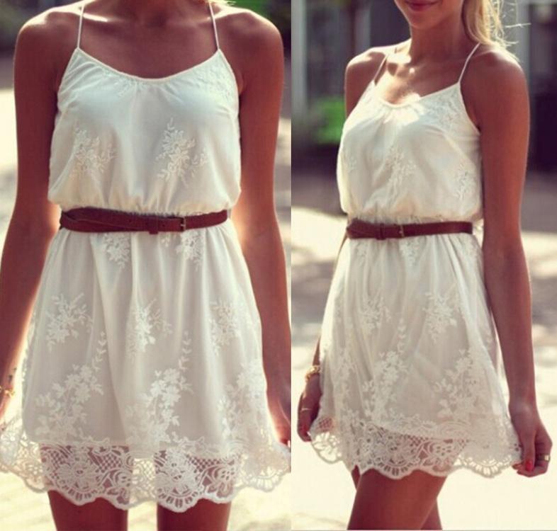 Summer Dress 2015 White Lace Flower Spaghetti Strap Dress Plus ...