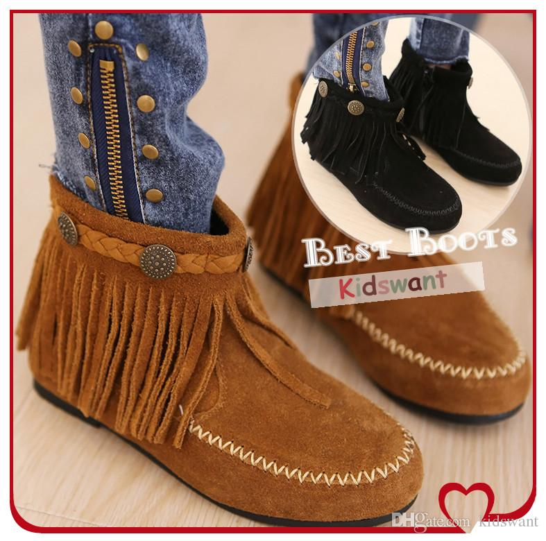 Tassel Ankle Flat Boots For Kids Girl Fashion Design Children's ...