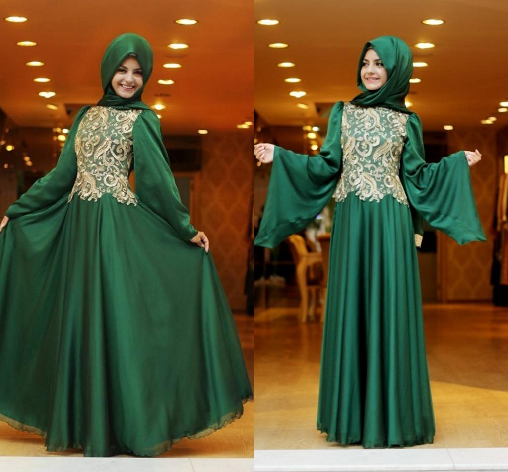 Dark Green Dubai Evening Dresses Arabic Kaftan Prom Dresses Long ...