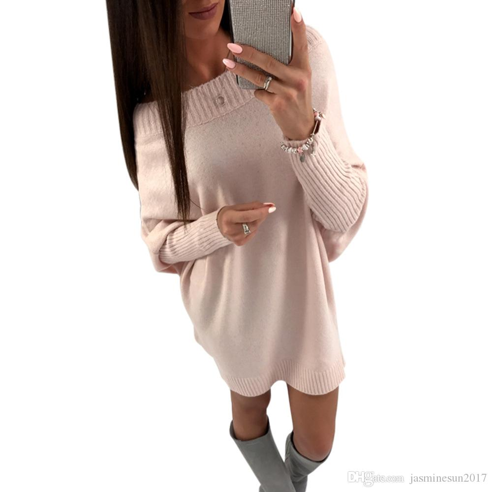 Oversized Long Knit Sweaters Dresses for Women Pullover Off the ...
