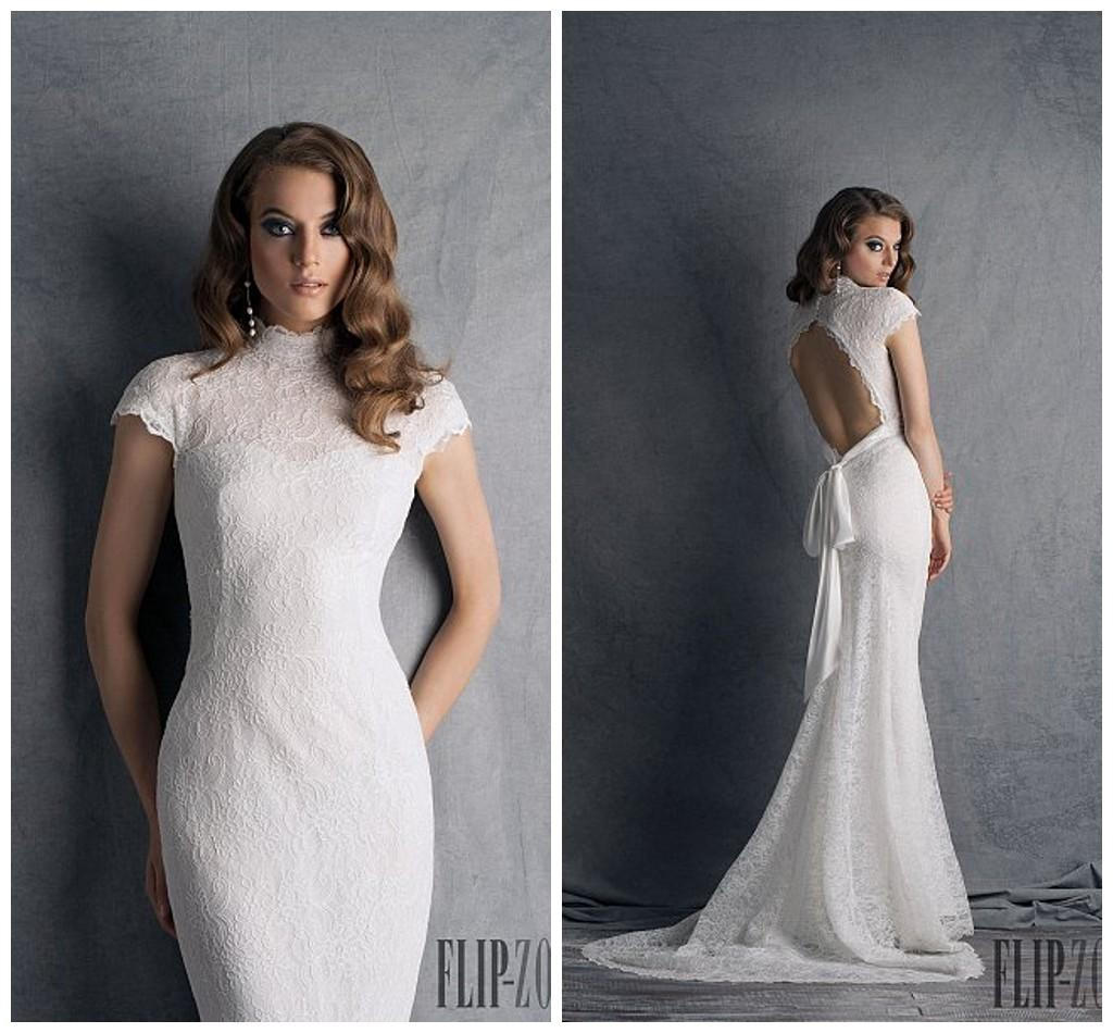 High Neck Wedding Dress With Short Sleeves