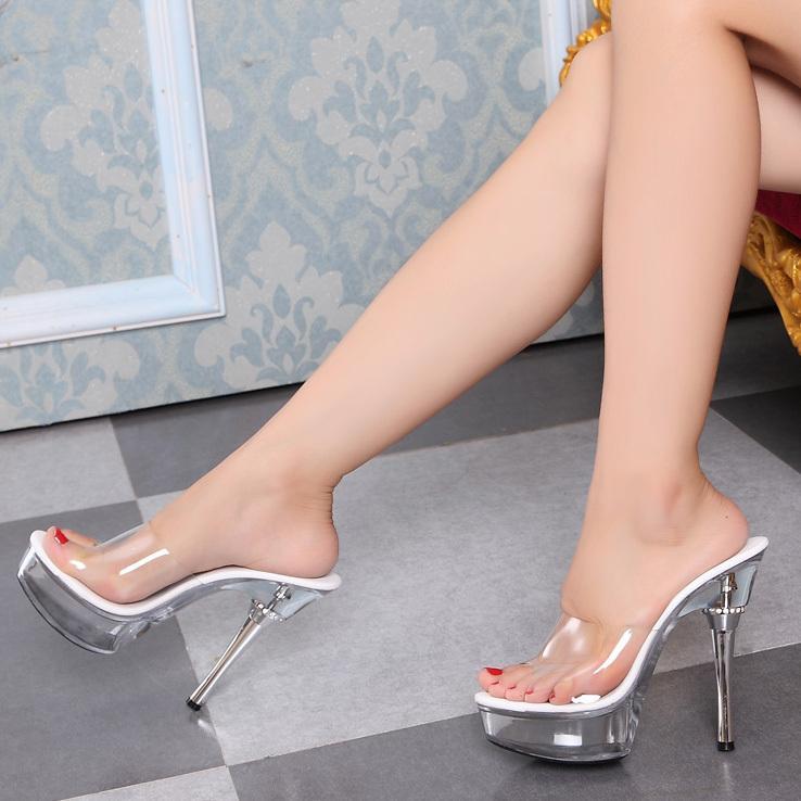 Sexy Super High Heels 14CM Transparent Glass Slipper Heels Diamond