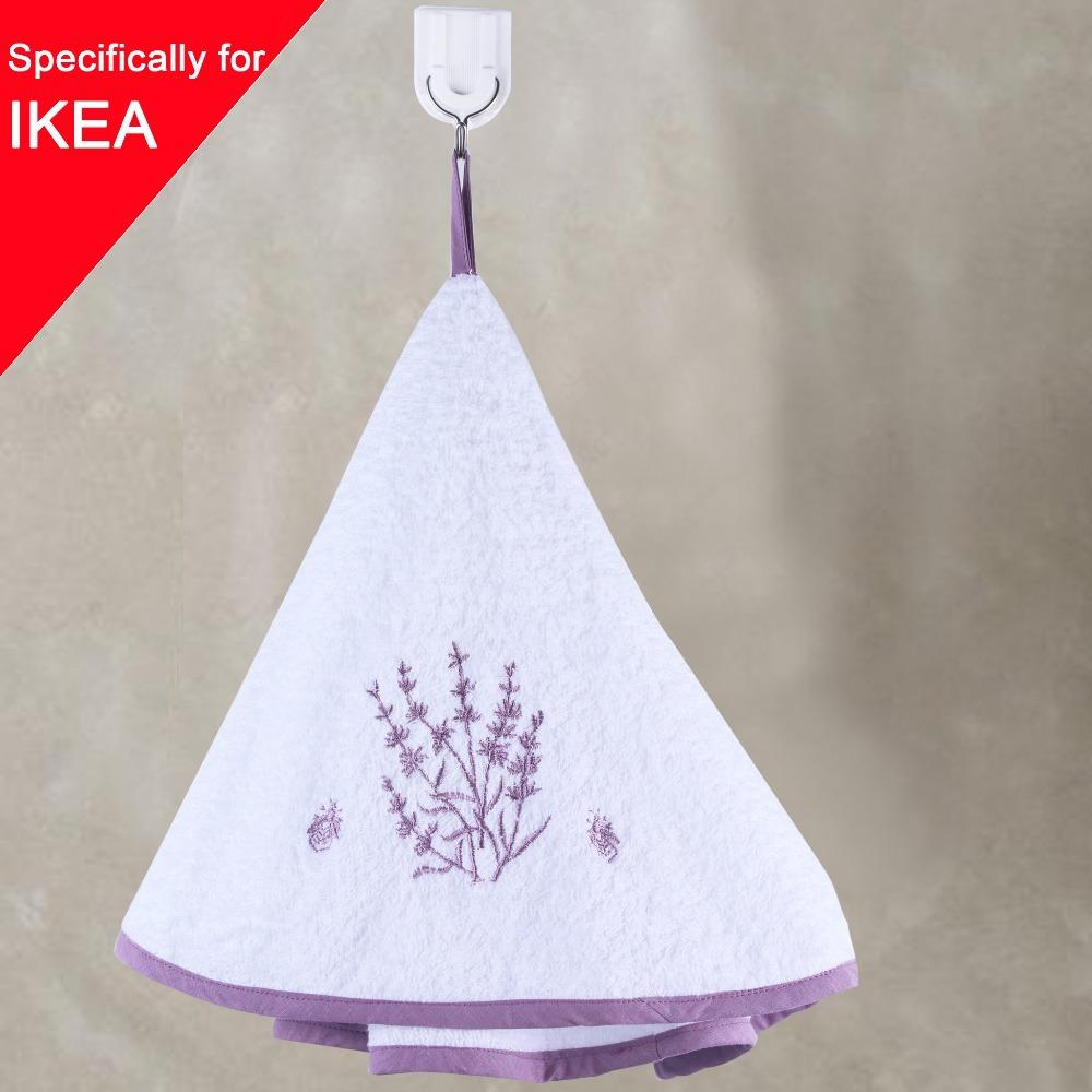 Lavender Washcloth Cotton Kitchen Towel 70cm Round Embroidery Hand Towels For Bathroom Warp