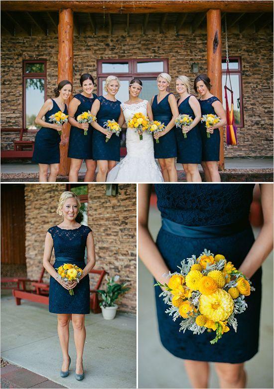 V neck yellow dress navy