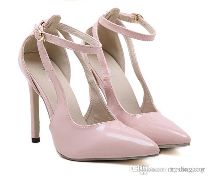 Sexy High Heels Ankle Strap Nude Pink Pumps Office Shoes ...
