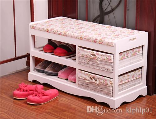 Modern Wooden Shoe Bench With Two Storage Basket Paulownia Solid Wood Rack  Living Room Furniture Japanese
