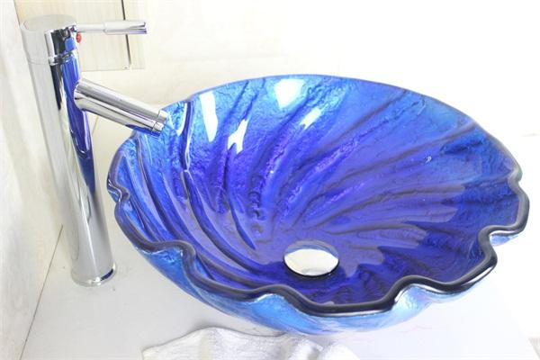 navy blue shell shaped bathroom sink tempered glass vessel sink with high oblique faucet set n541 - Glass Vessel Sinks