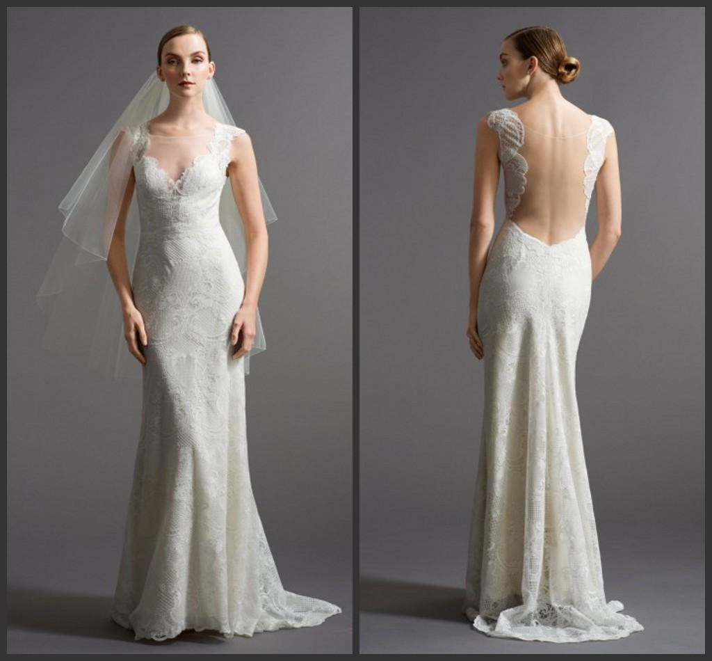 2015 lace fabric wedding dress illusion back with sheer for Wedding dress fabric stores