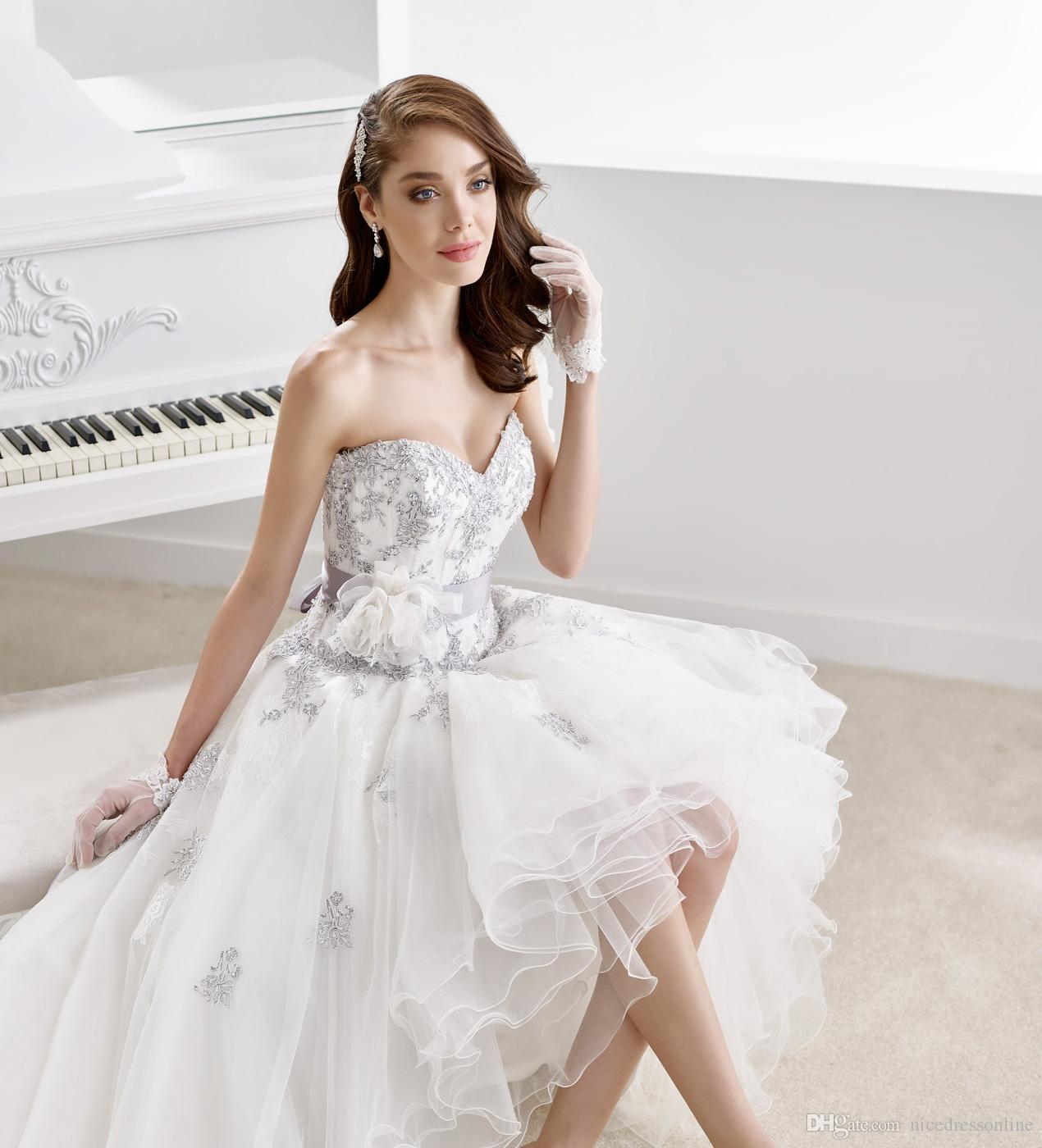 2016 hi lo wedding dresses by nicole spose sweetheart for Hi lo wedding dress
