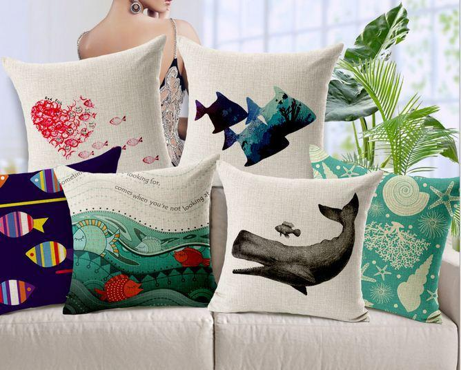 Home Decor Cushions aliexpress com buy cool home decor Starfish Cushion Covers Ocean Decorative Throw Pillow Sofa Pillowcase Cotton Linen Vintage Office Home Decor Burlap