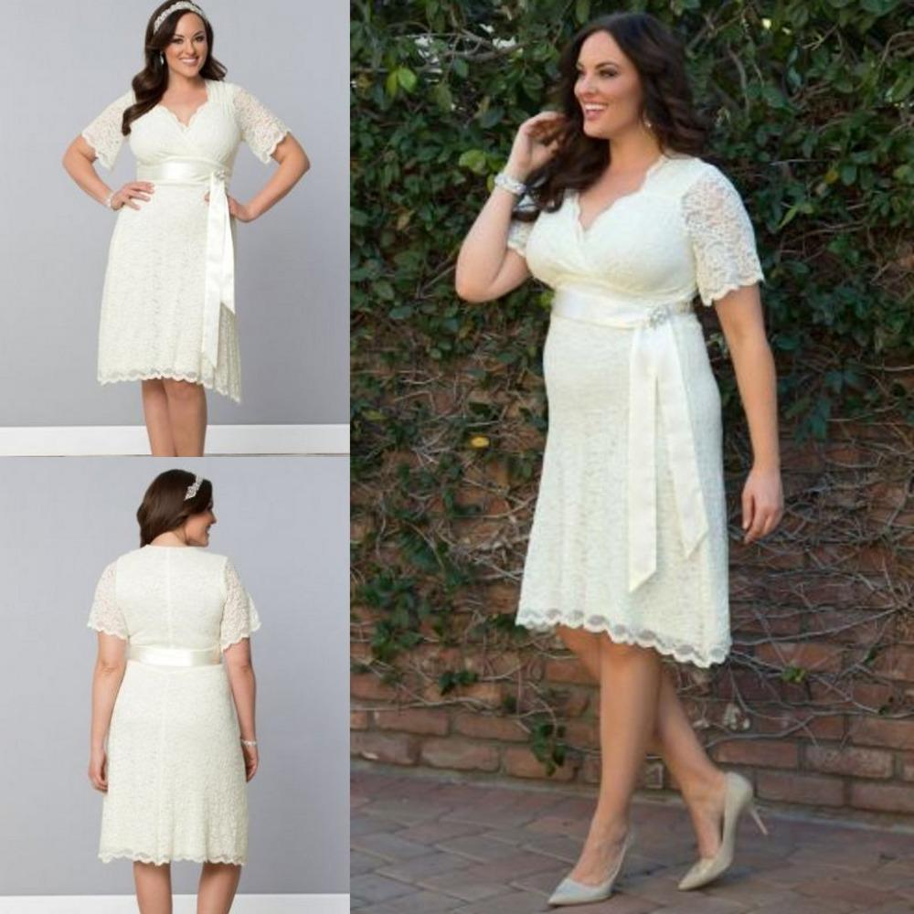 Discount sexy knee length beach bridal gowns v neck 2016 for Knee length beach wedding dresses