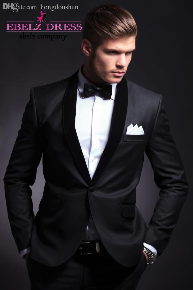 Online Cheap Wholesale 2015 New Sim Fit Best Man Suit Black ...