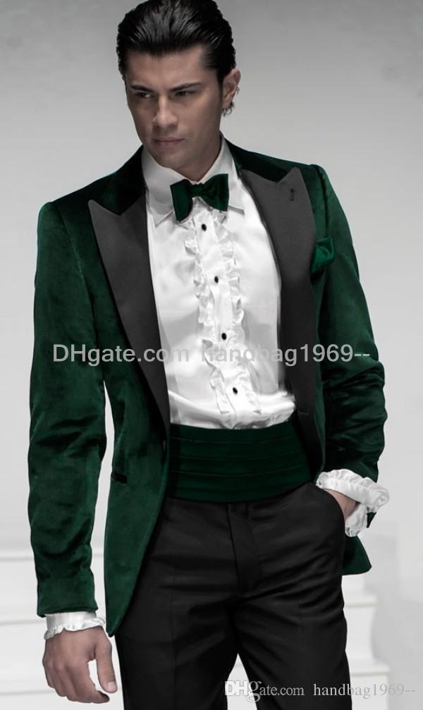 New Custom Design One Button Dark Green Groom Tuxedos Peak Lapel ...