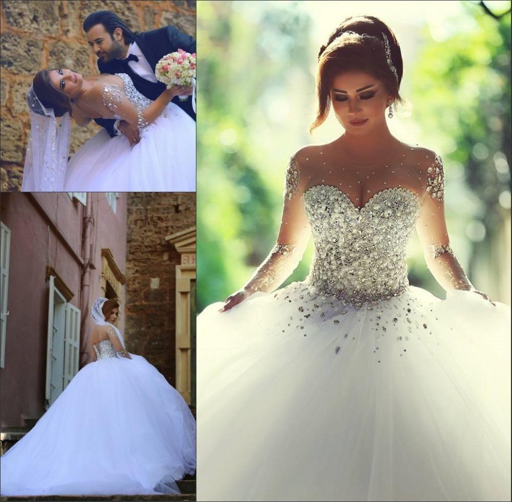 Ball Gown Sheer Long Sleeves Wedding Dresses 2017 Beaded Tulle ...