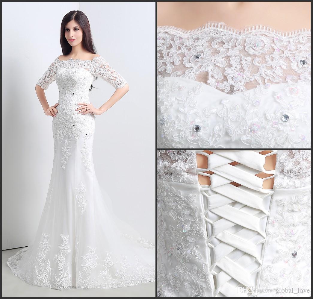 2016 Full Lace Mermaid Wedding Dresses Half Sheer Long